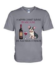 Wine and Frenchie 2 V-Neck T-Shirt thumbnail