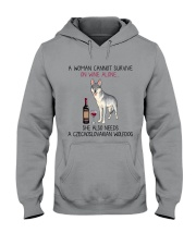 Wine and Czechoslovakian Wolfdog 2 Hooded Sweatshirt thumbnail