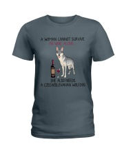 Wine and Czechoslovakian Wolfdog 2 Ladies T-Shirt thumbnail