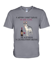 Wine and Czechoslovakian Wolfdog 2 V-Neck T-Shirt tile