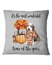 The Most Wonderful Time - Bearded Collie Square Pillowcase thumbnail