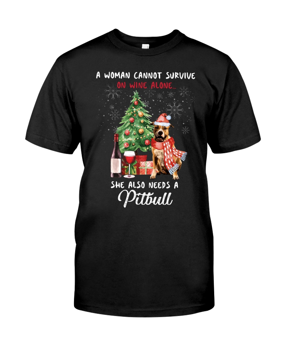 Christmas Wine and Pit Bull Classic T-Shirt