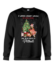 Christmas Wine and Pit Bull Crewneck Sweatshirt thumbnail