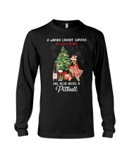 Christmas Wine and Pit Bull Long Sleeve Tee thumbnail