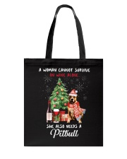 Christmas Wine and Pit Bull Tote Bag thumbnail