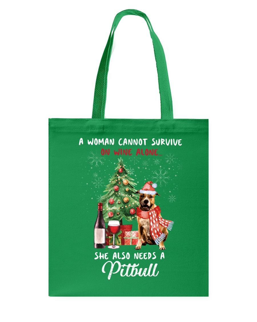 Christmas Wine and Pit Bull Tote Bag