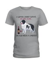 Wine and Landseer 2 Ladies T-Shirt thumbnail