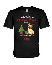 Christmas Movies and Pug V-Neck T-Shirt thumbnail