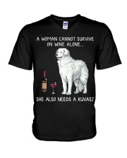 Wine and Kuvasz V-Neck T-Shirt thumbnail