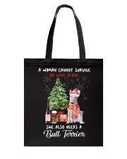 Christmas Wine and Bull Terrier Tote Bag thumbnail