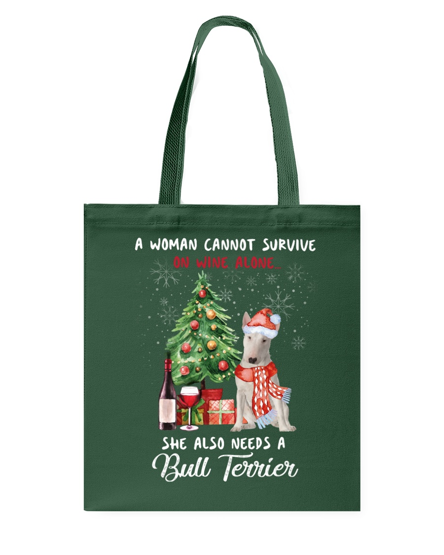 Christmas Wine and Bull Terrier Tote Bag