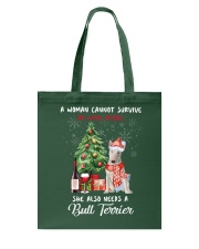 Christmas Wine and Bull Terrier Tote Bag front