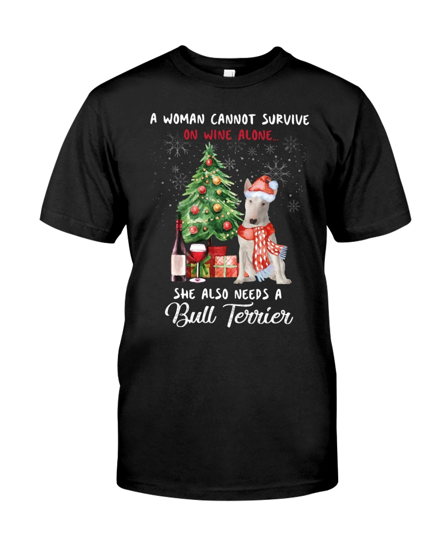 Christmas Wine and Bull Terrier Classic T-Shirt