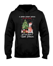 Christmas Wine and Bull Terrier Hooded Sweatshirt thumbnail