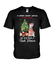 Christmas Wine and Bull Terrier V-Neck T-Shirt tile