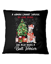 Christmas Wine and Bull Terrier Square Pillowcase thumbnail