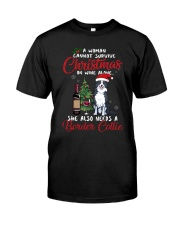 Christmas - Wine and Border Collie  Classic T-Shirt front