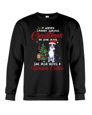 Christmas - Wine and Border Collie  Crewneck Sweatshirt thumbnail