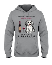 Wine and Havanese 2 Hooded Sweatshirt tile