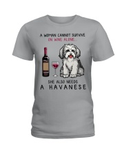 Wine and Havanese 2 Ladies T-Shirt thumbnail
