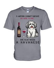 Wine and Havanese 2 V-Neck T-Shirt tile