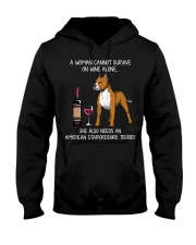 Wine and American Staffordshire Terrier Hooded Sweatshirt thumbnail
