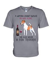 Wine and Fox Terrier 2 V-Neck T-Shirt thumbnail