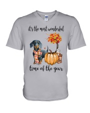 The Most Wonderful Time - Dachshund V-Neck T-Shirt thumbnail