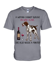 Wine and Pointer 2 V-Neck T-Shirt thumbnail