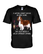Wine and Welsh Springer Spaniel V-Neck T-Shirt thumbnail