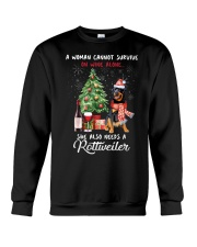 Christmas Wine and Rottweiler Crewneck Sweatshirt thumbnail