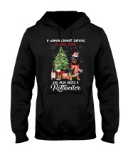 Christmas Wine and Rottweiler Hooded Sweatshirt thumbnail