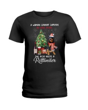 Christmas Wine and Rottweiler Ladies T-Shirt thumbnail