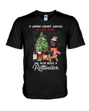 Christmas Wine and Rottweiler V-Neck T-Shirt thumbnail