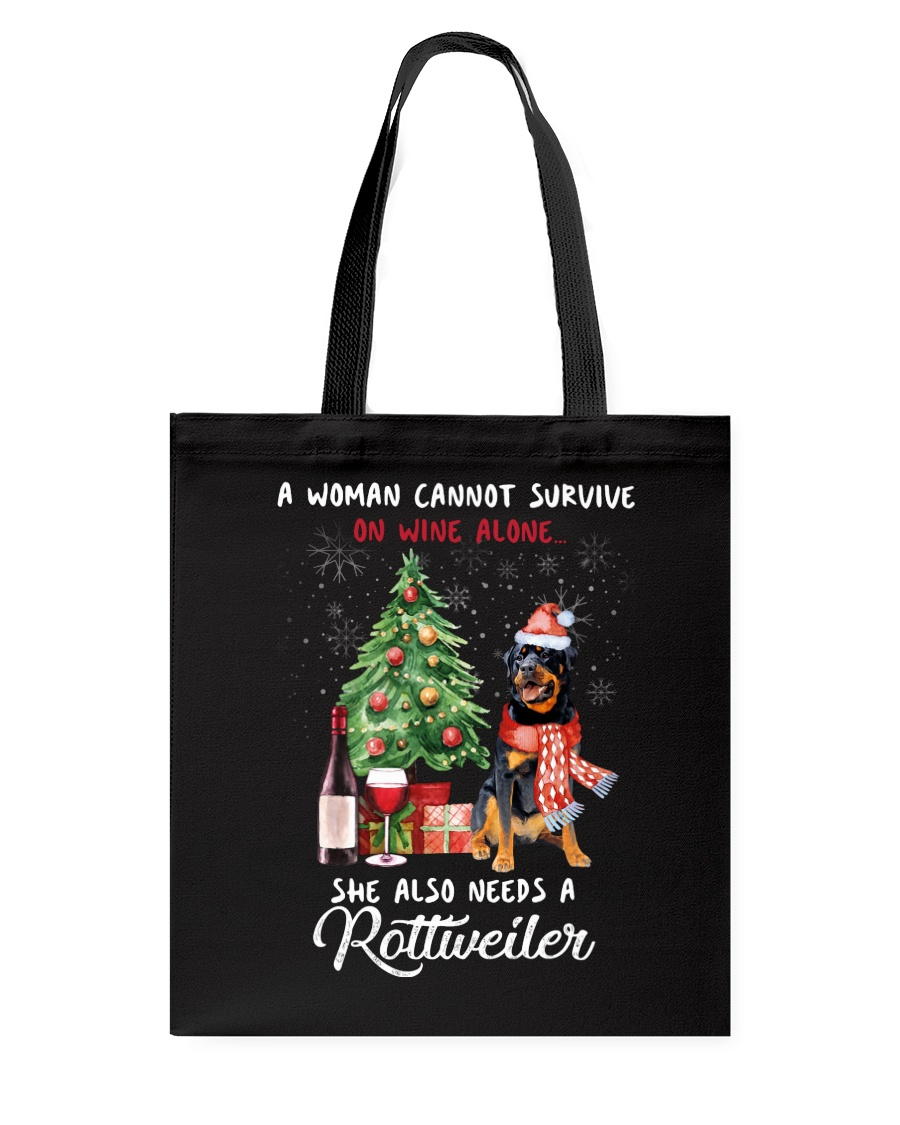 Christmas Wine and Rottweiler Tote Bag
