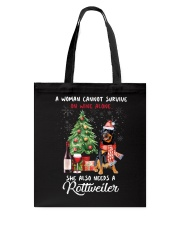 Christmas Wine and Rottweiler Tote Bag thumbnail