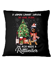 Christmas Wine and Rottweiler Square Pillowcase thumbnail