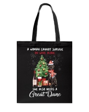Christmas Wine and Great Dane Tote Bag thumbnail