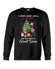 Christmas Wine and Great Dane Crewneck Sweatshirt thumbnail