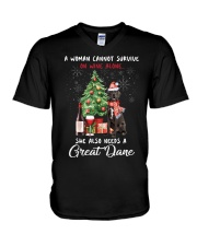 Christmas Wine and Great Dane V-Neck T-Shirt thumbnail