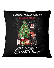 Christmas Wine and Great Dane Square Pillowcase thumbnail
