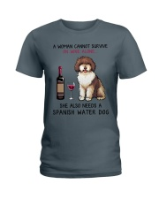 Wine and Spanish Water Dog 2 Ladies T-Shirt thumbnail