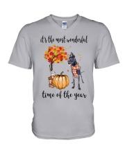 The Most Wonderful Time - Black Great Dane V-Neck T-Shirt thumbnail