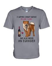 Wine and Eurasier 2 V-Neck T-Shirt thumbnail