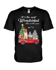 Wonderful Christmas with Truck - Amstaff V-Neck T-Shirt thumbnail