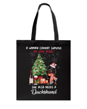 Christmas Wine and Dachshund Tote Bag thumbnail