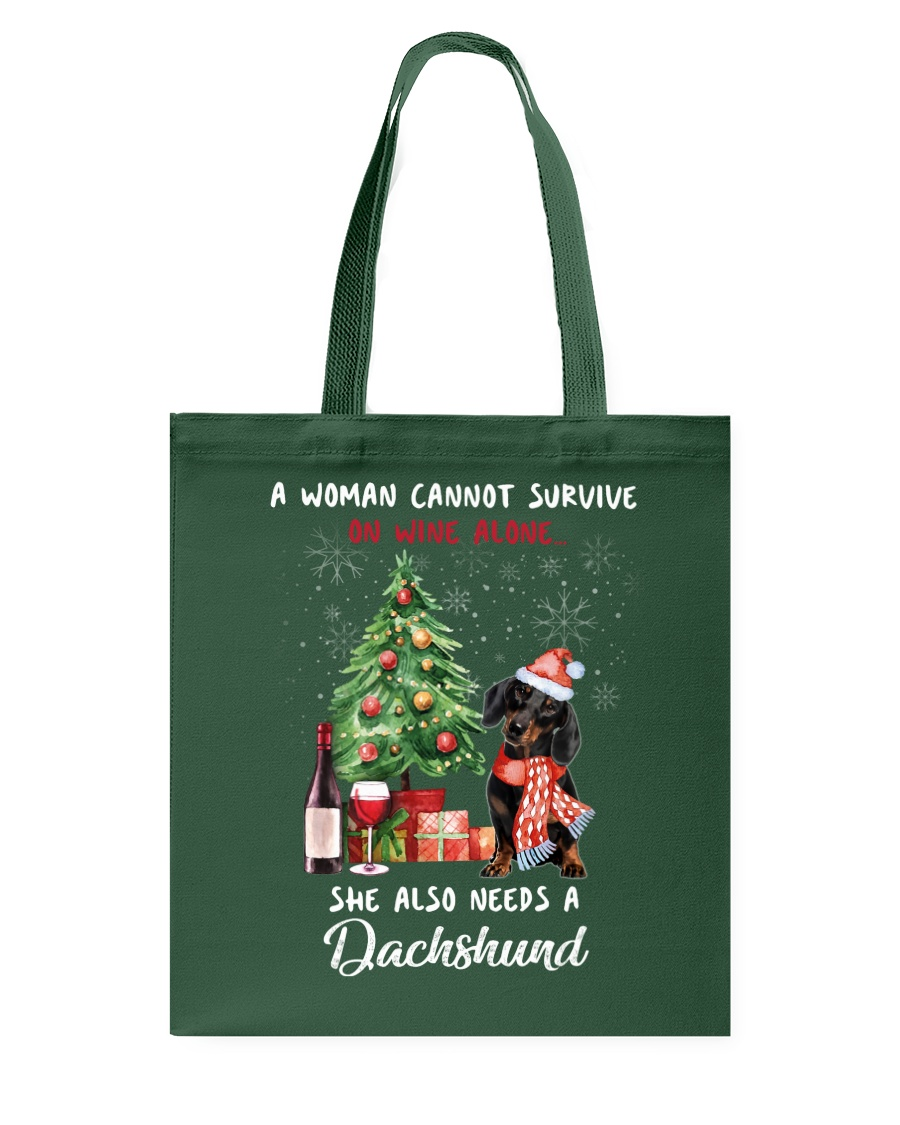 Christmas Wine and Dachshund Tote Bag