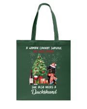 Christmas Wine and Dachshund Tote Bag front