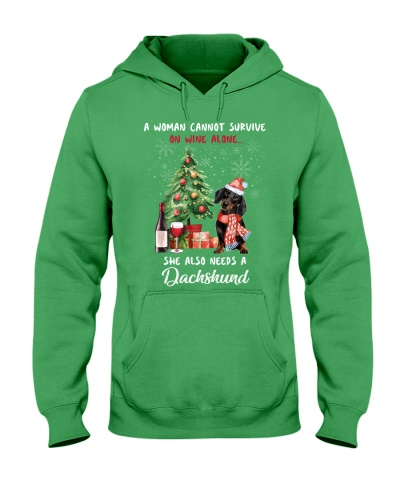 Christmas Wine and Dachshund