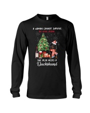 Christmas Wine and Dachshund Long Sleeve Tee thumbnail